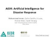 Artificial Intelligence for Disaster Response