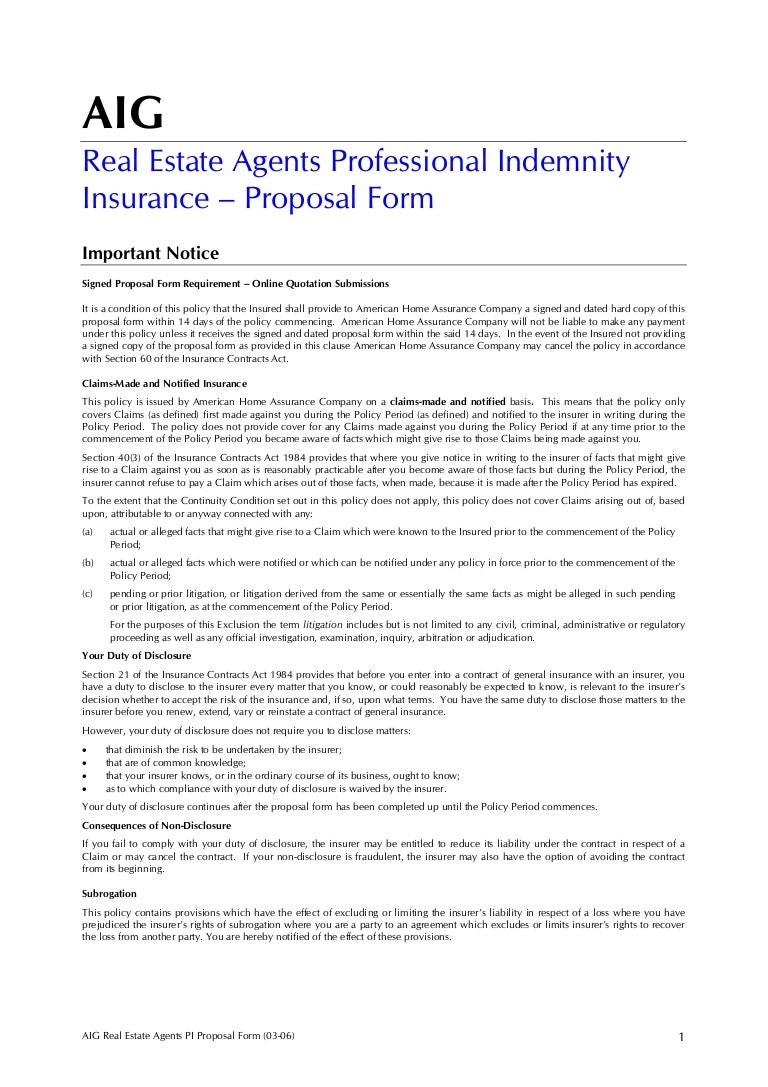 Aig Real Estate Agents Professional Indemnity Insurance ...
