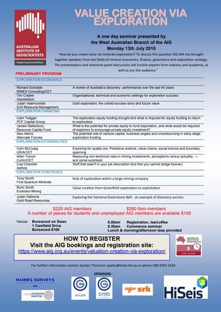 Value Creation via Exploration - Australian Institute of Geoscientists - 13th July 2015 - Perth - Registration Flyer