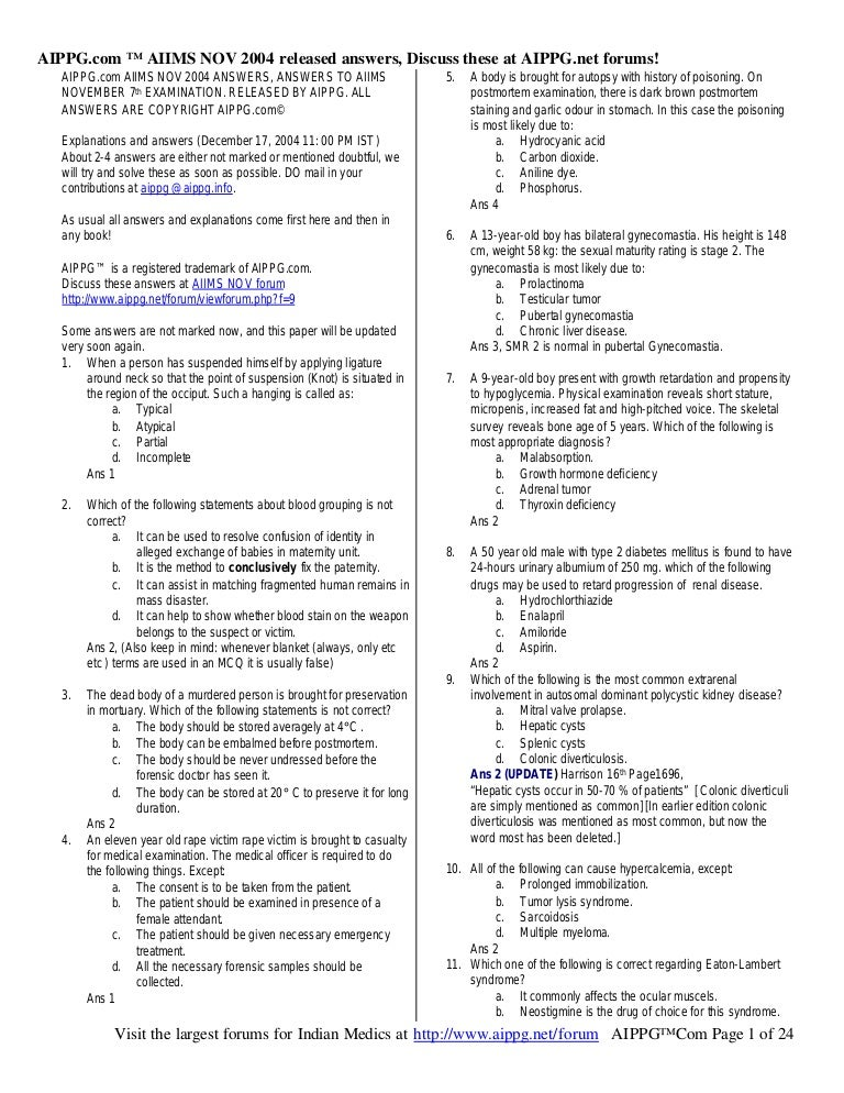 Aiims questions with answers nov 2004 fandeluxe Image collections