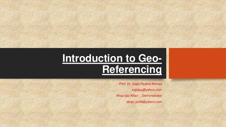 Lec 6 Intro To Geo Referencing
