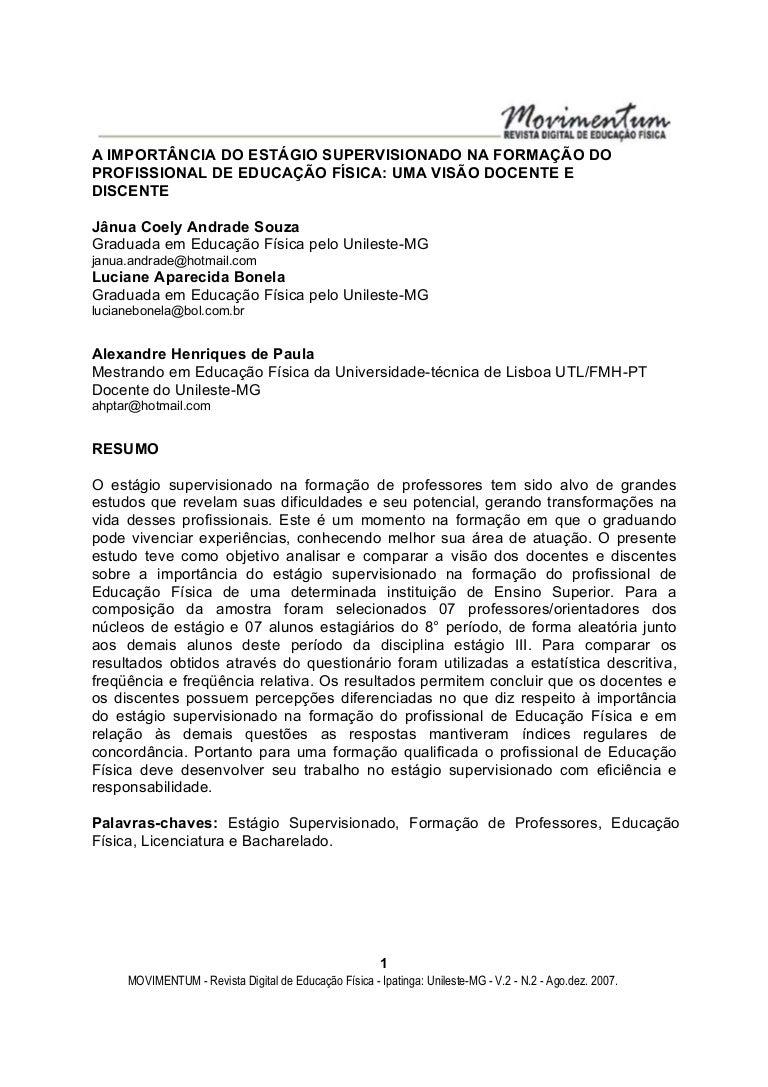 Relatório De Estágio Supervisionado E Educação Monografia