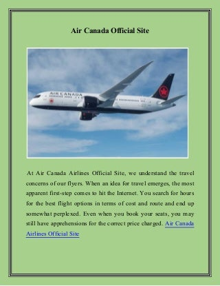 Visit Air Canada Airlines Official Site & Get Best Deals