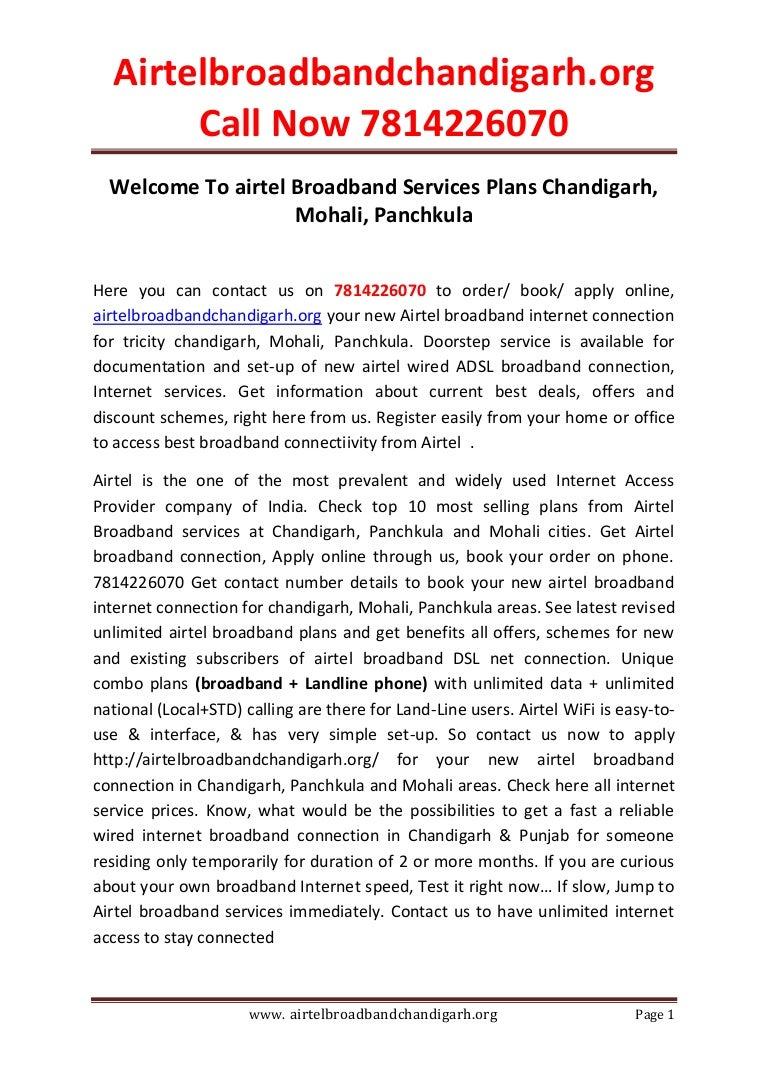 Airtel broadband chandigarh 781 422-6070