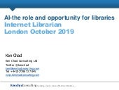 AI - the role and opportunity in libraries