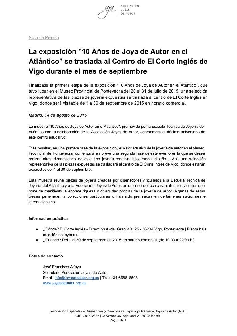 662d9c711f0e Nota de prensa - El Corte Inglés abre sus puertas a la Joya de Autor