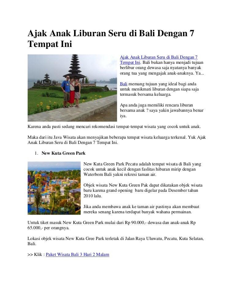 Ajak Anak Liburan Seru Di Bali Dengan 7 Tempat Ini