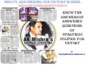 Ak Mishra's Political Consulting @ http://politicalconsultant.net.in