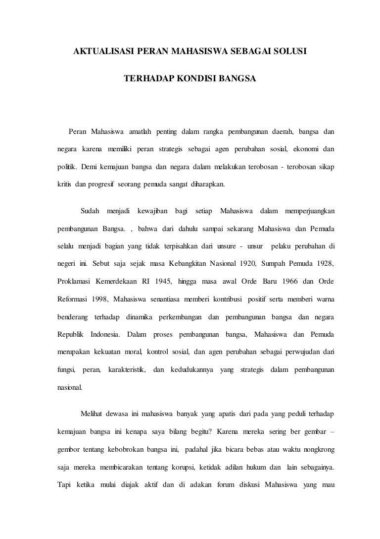 contoh essay aktualisasi peran fungsi mahasiswa dalam pembangunan masyarakat