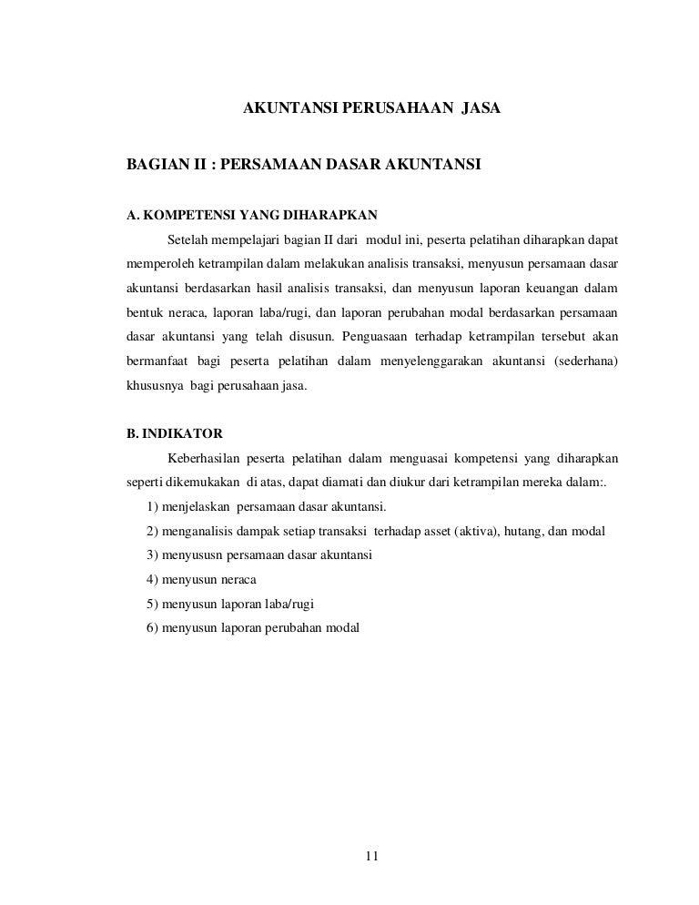 Contoh Soal Persamaan Dasar Akuntansi Dan Laporan Keuangan Perusahaan Jasa Kumpulan Contoh Laporan