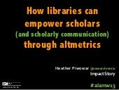 Libraries empowering scholars (and scholarly communication) through #altmetrics