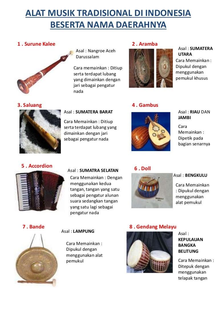 Alat Musik Tradisional di Indonesia beserta Nama Daerahnya