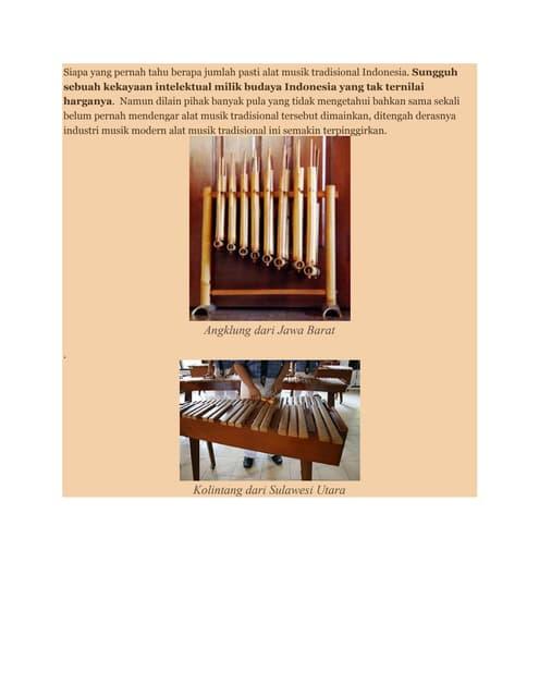 33 Alat Musik Tradisional Indonesia