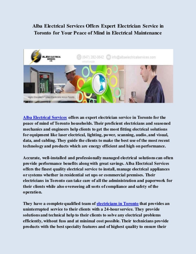 Alba Electrical Services Offers Expert Electrician Service in Toronto…