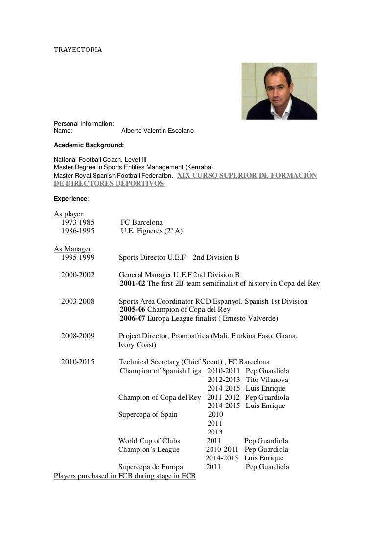 Hermosa Currículum De Fútbol Para Entrenadores Universitarios ...