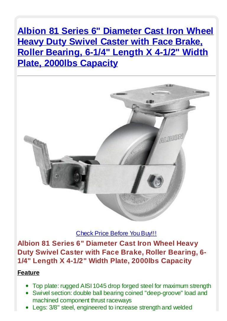 "Durable Swivel Caster 8/"" x 2/"" Cast Iron Wheel 4/"" x 4-1//2/"" Plate w// Brake"