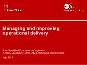 Managing and improving operational delivery