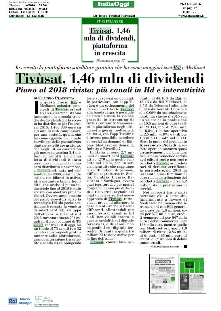 Alessandro Picardi - Articolo Italia Oggi - 19 08 2016