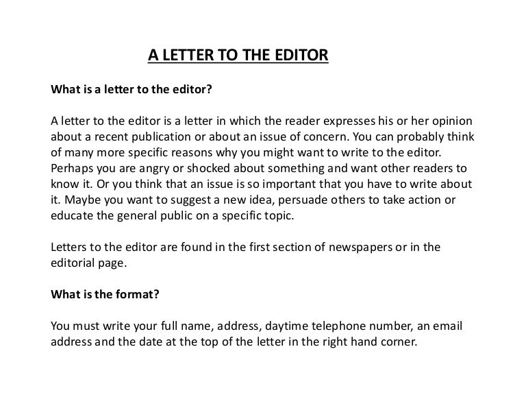 a letter to the editor