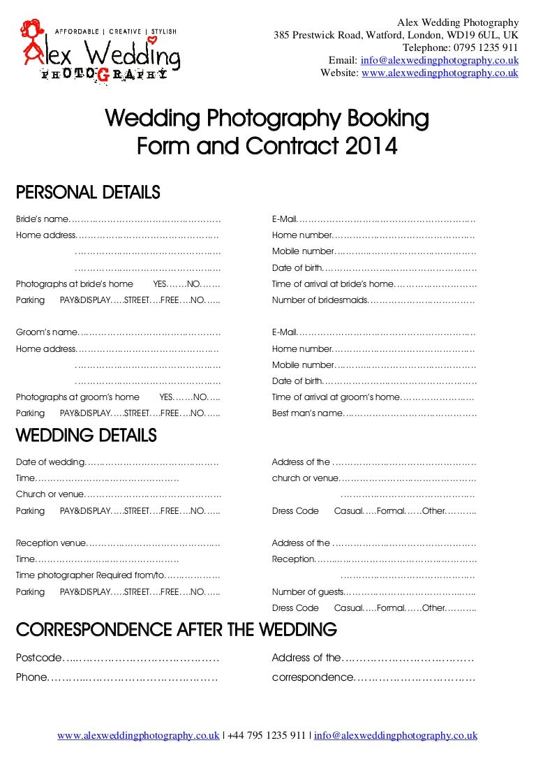 wedding photography booking form and contract 2014. Black Bedroom Furniture Sets. Home Design Ideas