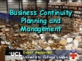 Introduction to Business Continuity Management