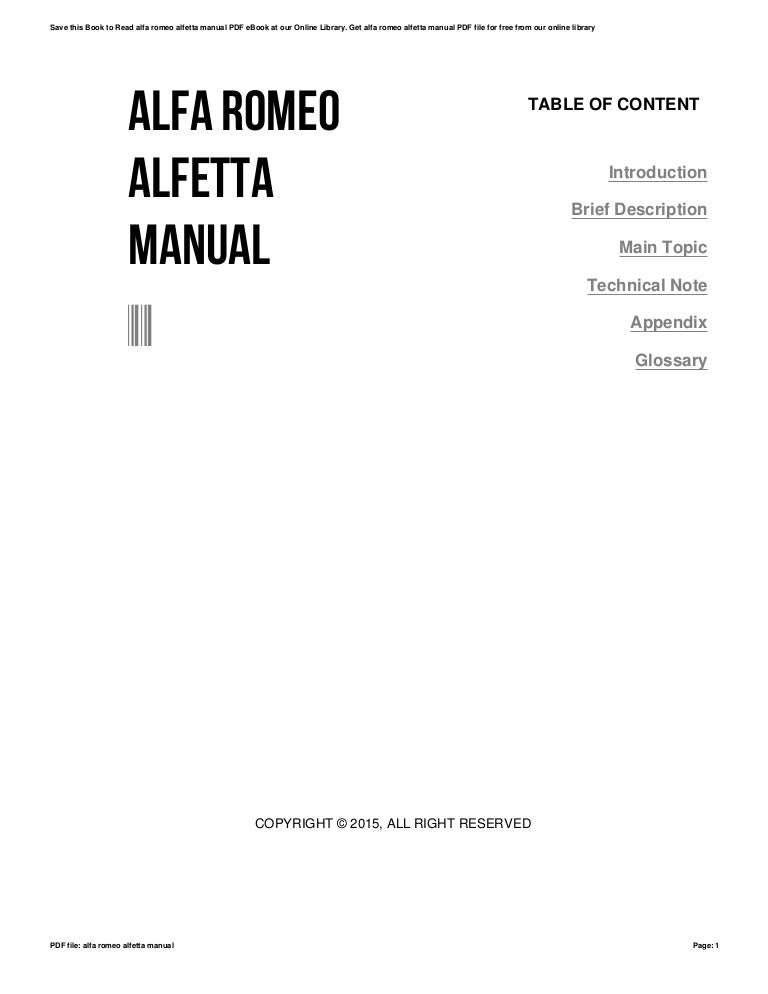 Alfa romeo alfetta manual