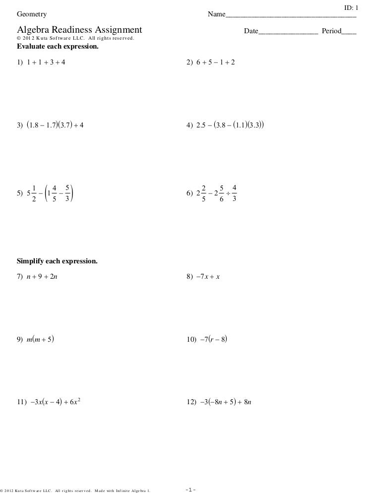 Algebra Readiness Assignment 3Setspdf – Evaluate Each Expression Worksheet