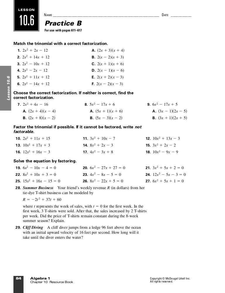 Algebra106 B – Holt Mcdougal Algebra 1 Worksheet Answers