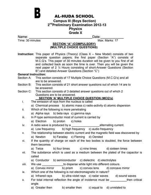 Alhuda paper b 2nd prelim