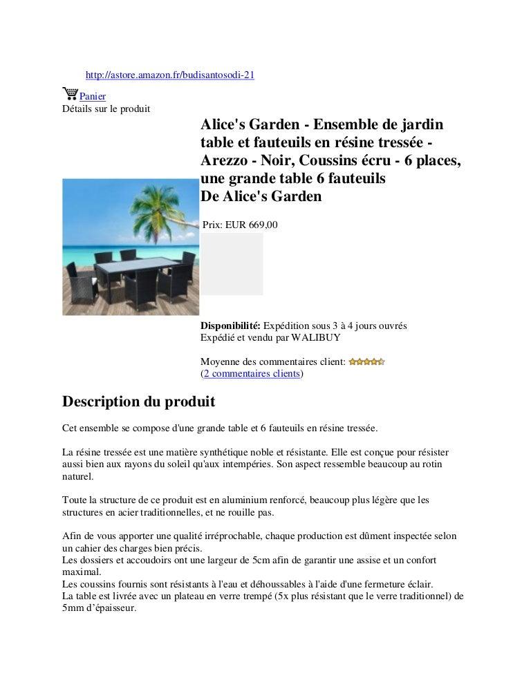 Ensemble De Fauteuils Alice's Jardin Table En Garden Tres… Et Résine O80wknP