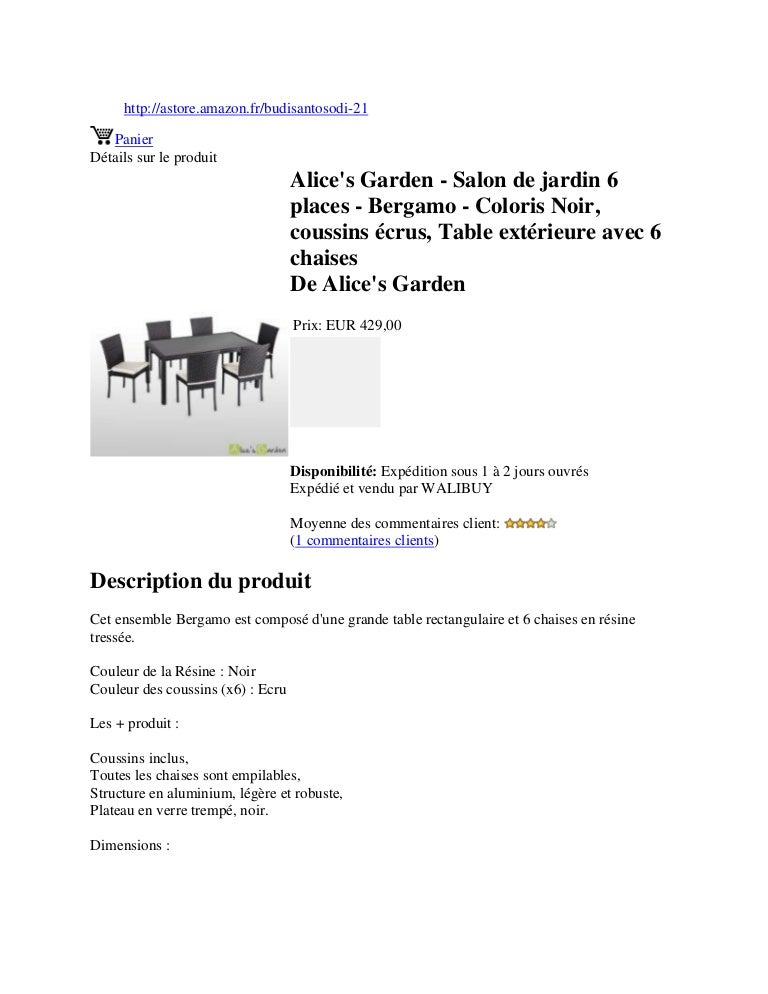 Alice\'s garden salon de jardin 6 places - bergamo - coloris ...
