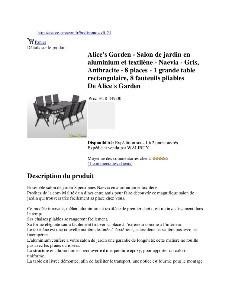 Alice\'s garden salon de jardin en aluminium et textilène ...