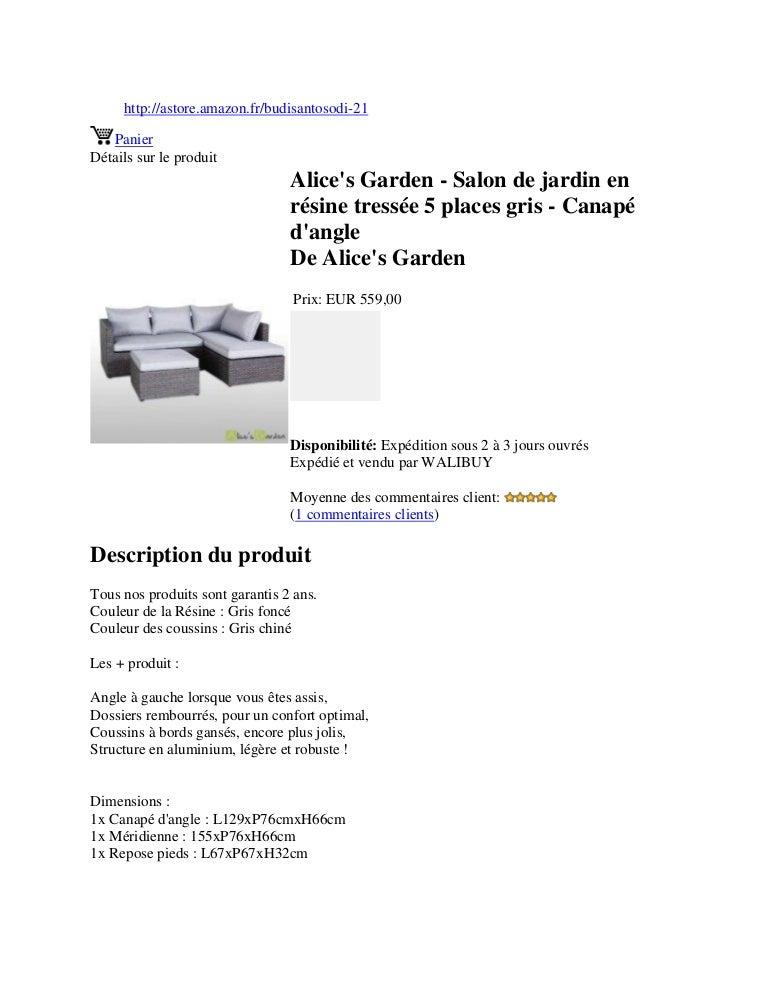 Alice\'s garden salon de jardin en résine tressée 5 places ...