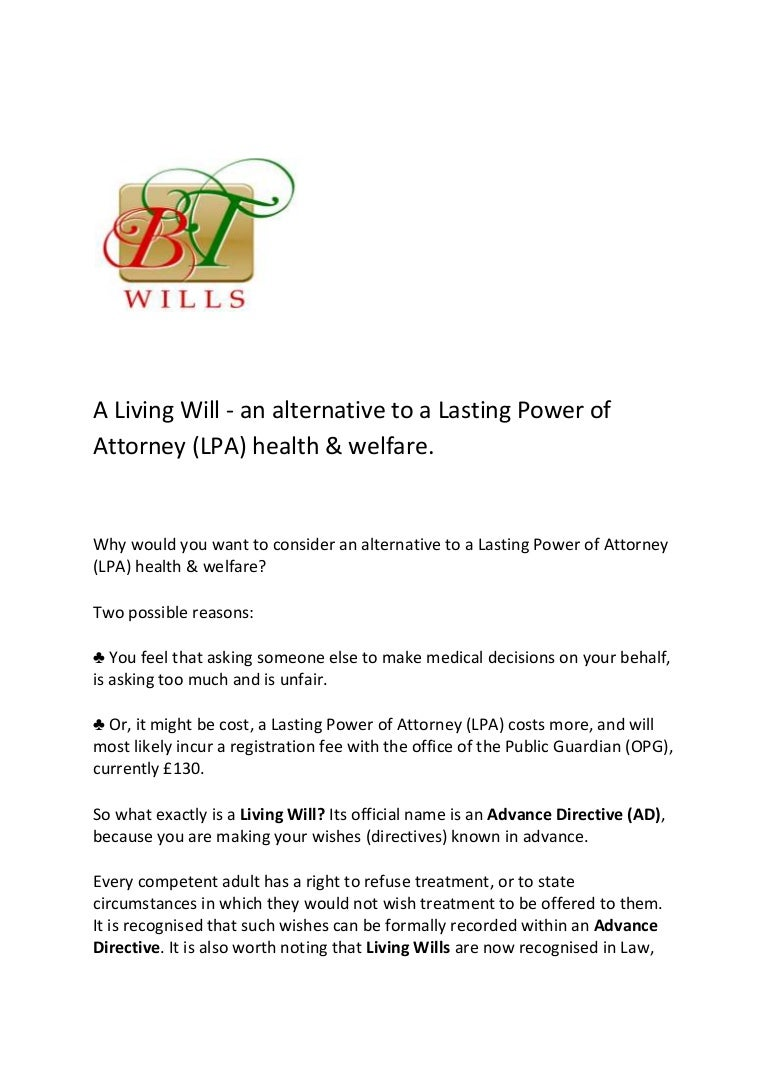 A living will an alternative to a lasting power of attorney lpa h falaconquin