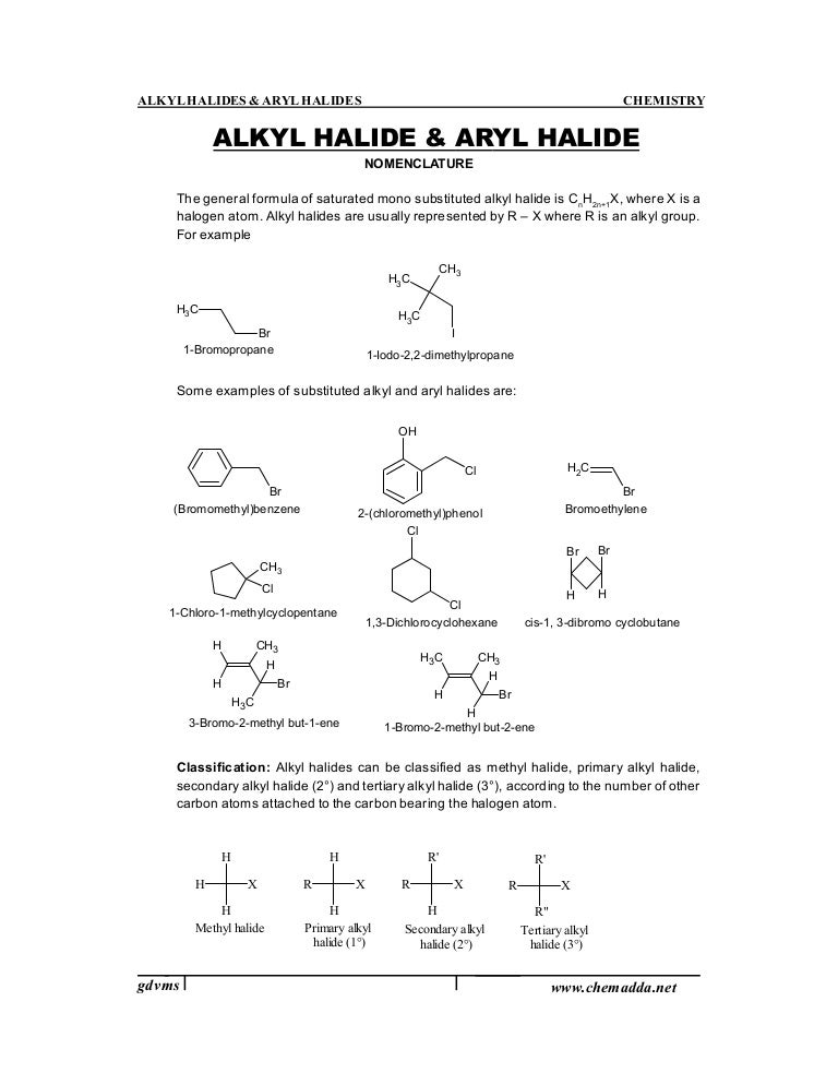ALKYL HALIDES AND ARYL HALIDES PDF DOWNLOAD
