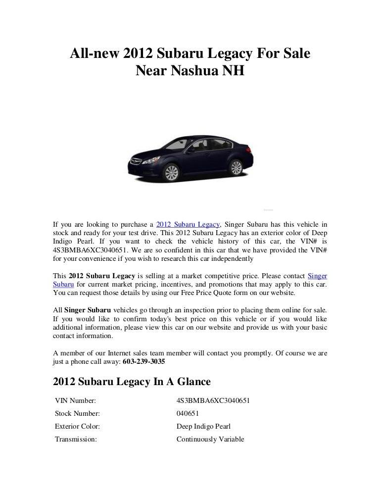 Subaru Of Nashua >> All New 2012 Subaru Legacy For Sale Near Nashua Nh