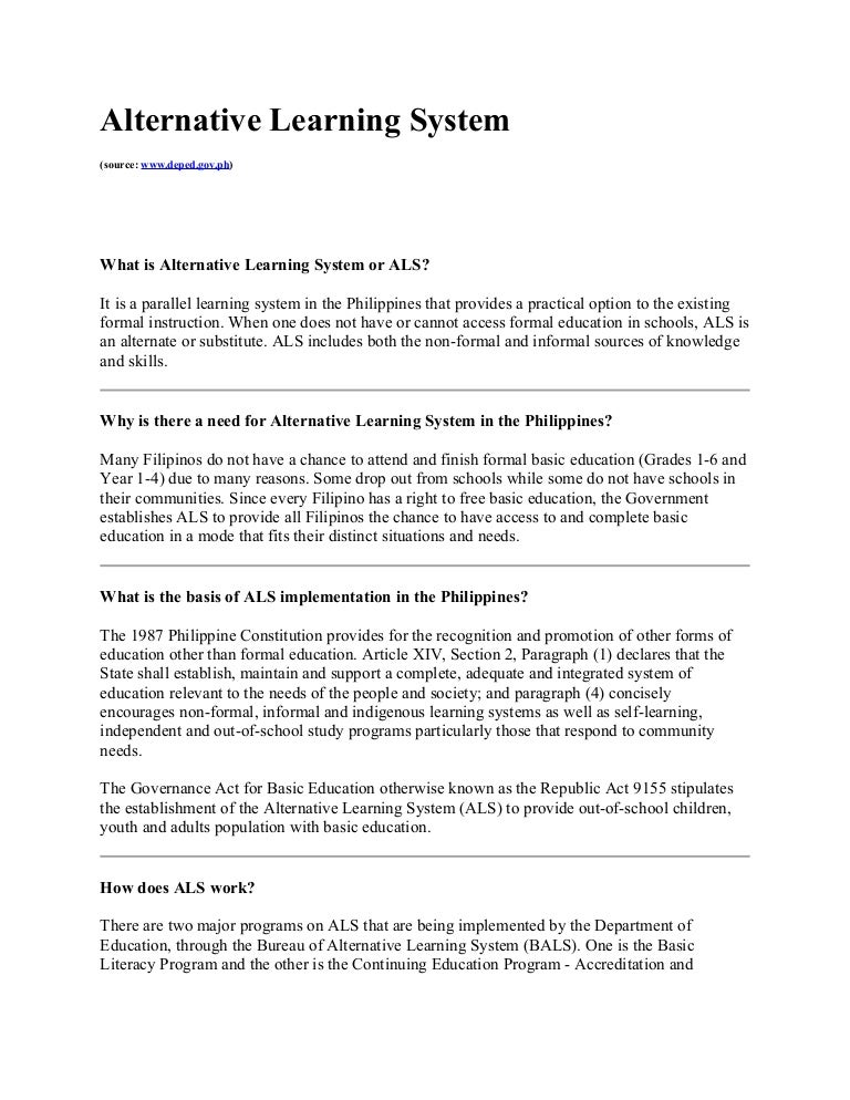 All About Alternative Learning System
