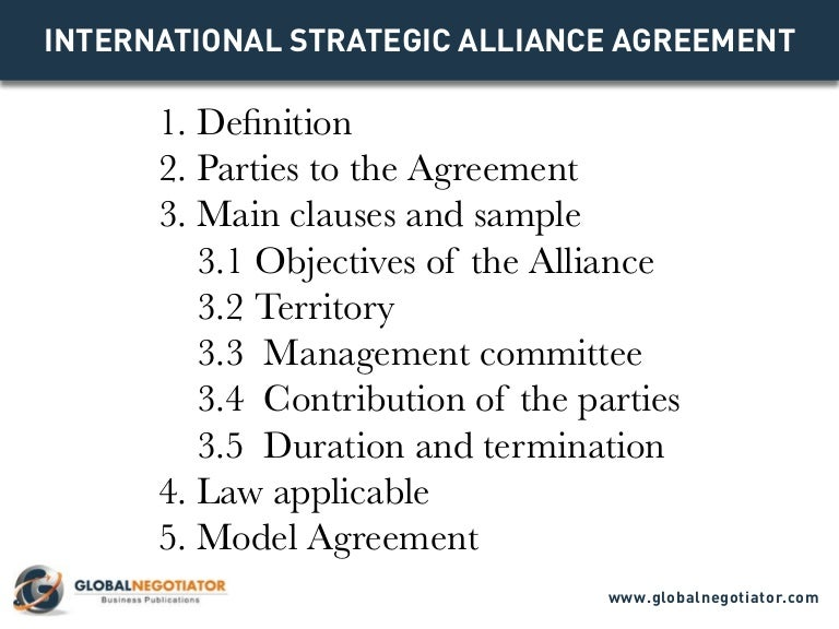 International Strategic Alliance Agreement  Contract Template And Sa
