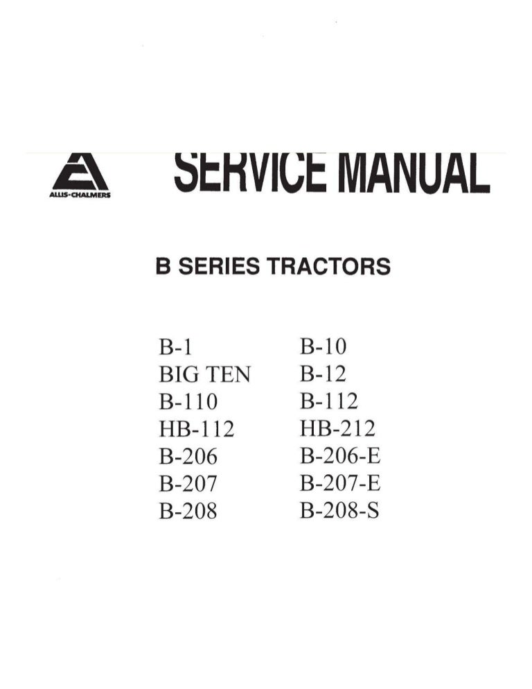 Allis Chalmers B Series Tractor PDF Service Manual DownloadSlideShare