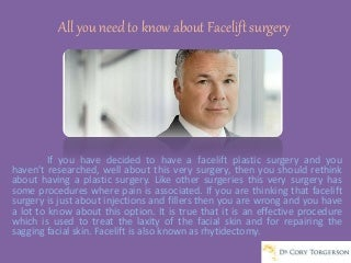 All you need to know about Facelift surgery