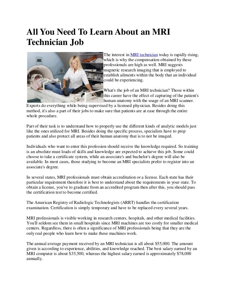 All You Need To Learn About An Mri Technician Job