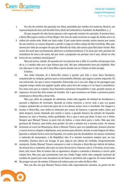 Texto autobiográfico (excerto de Alma de Manuel Alegre)