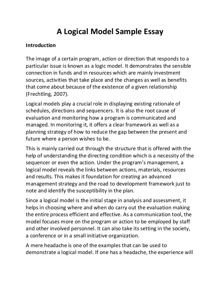 a logical model sample essay
