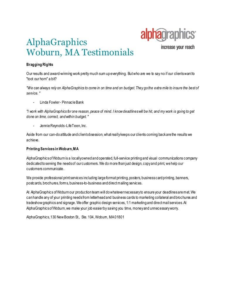 Print service testimonials alphagraphics woburn ma colourmoves