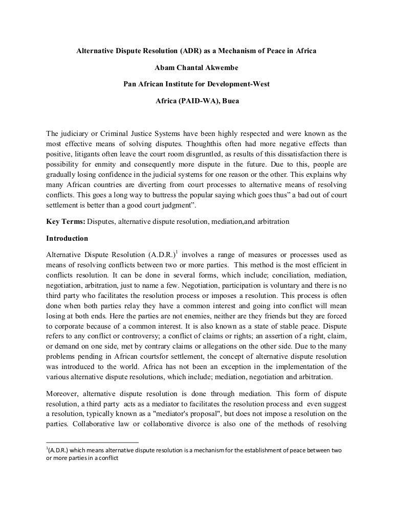Types of Alternative Dispute Resolution (ADR)