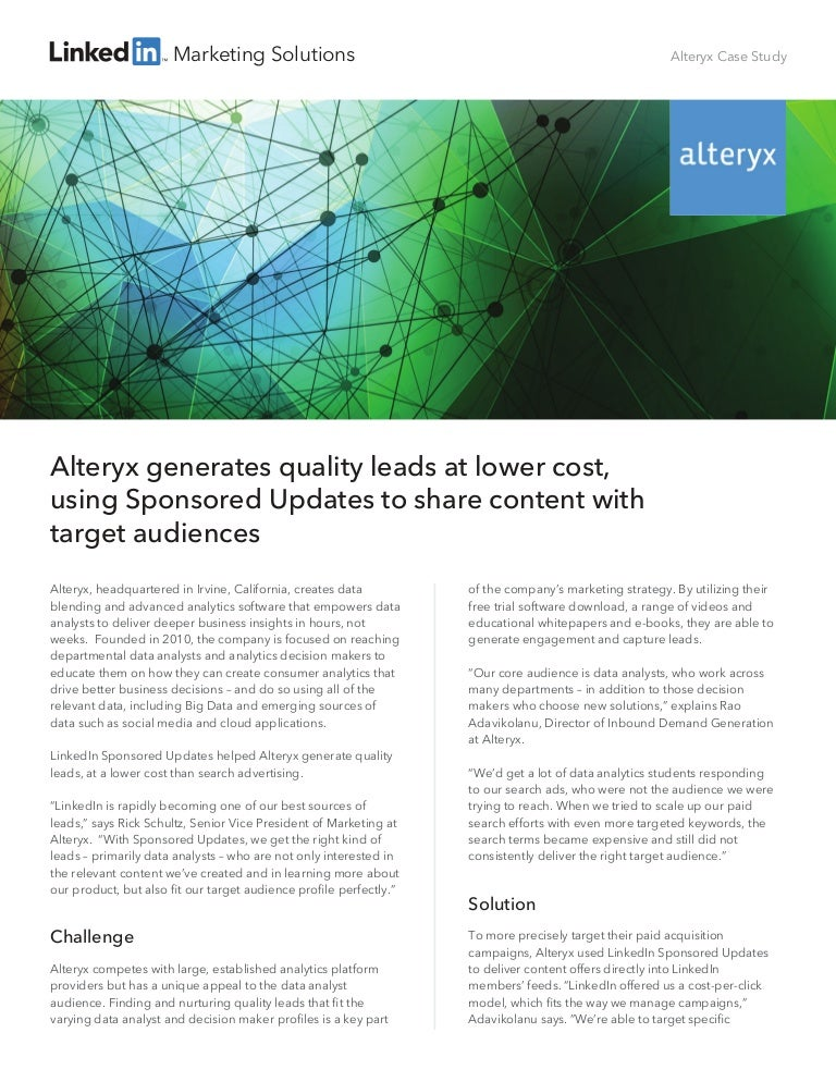 Alteryx Case Study: Generating quality leads at a lower cost