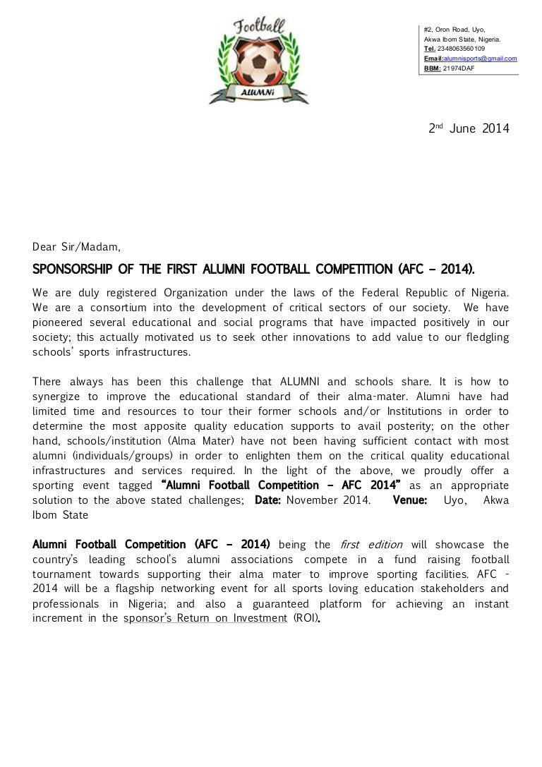 Alumni Football Competition AFC 2014 Registration Package Spons – Sample Sponsorship Proposal Package