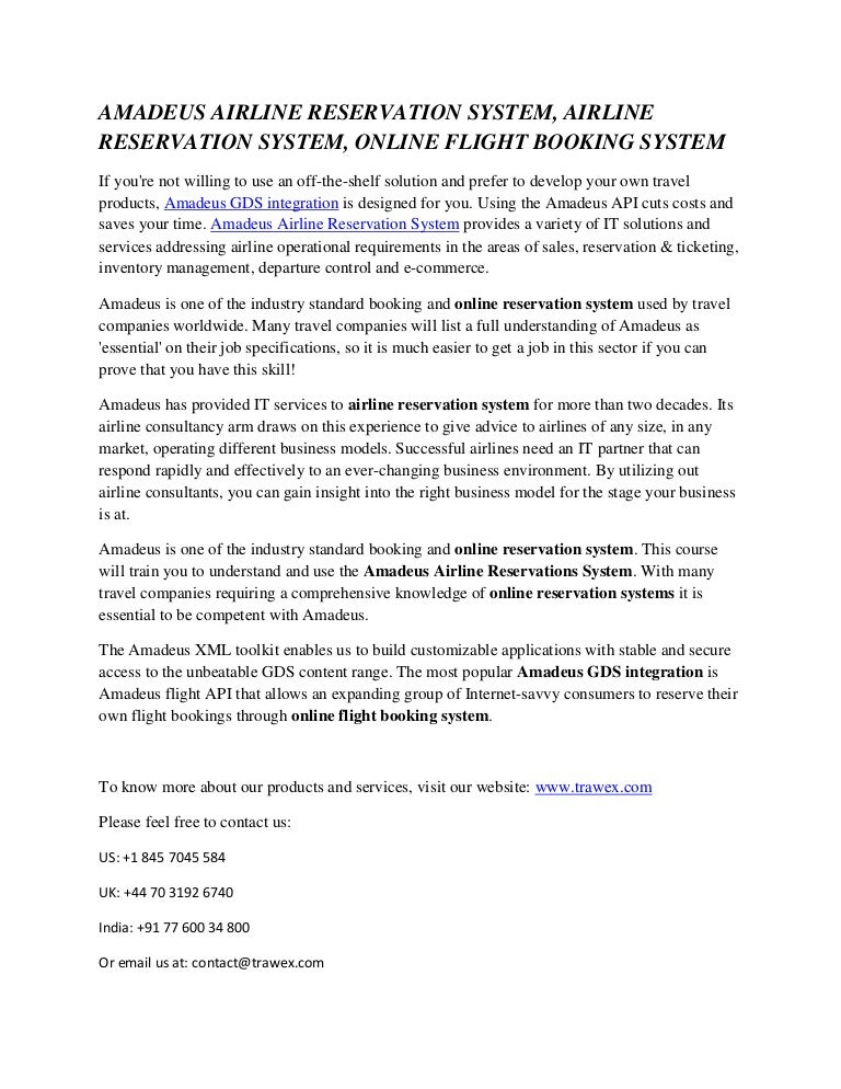AMADEUS AIRLINE RESERVATION SYSTEM, AIRLINE RESERVATION
