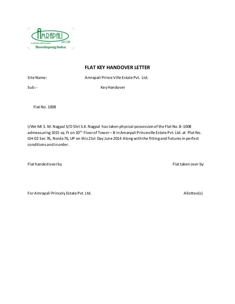 Key handover letter mydrlynx sample spiritdancerdesigns Gallery