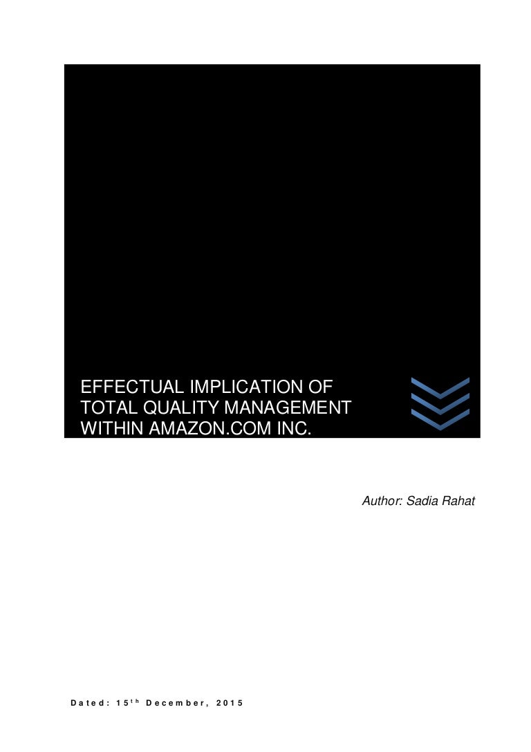 effectual implication of total quality management in amazon com i